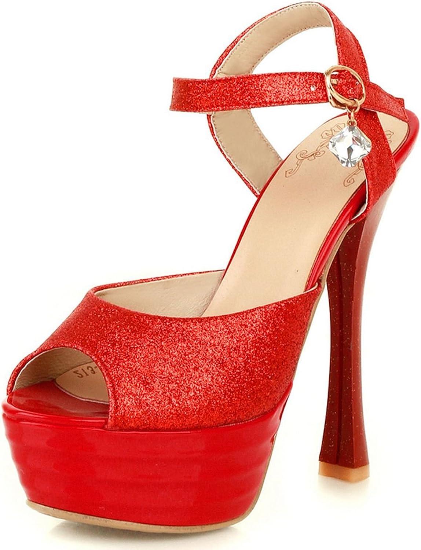 DecoStain Womens Glitter Ankle Strap High Heel Platform Sandals Peep Toe Party Wedding Dress shoes