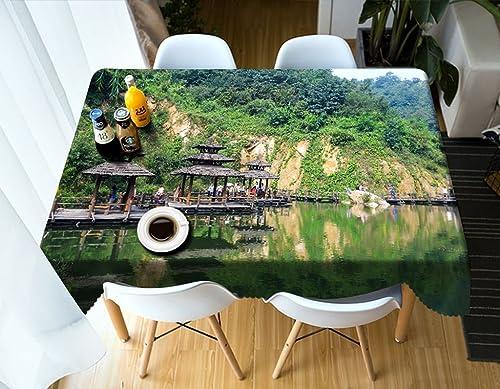 Qiao jin Tischdecke Rechteckige Tischdecke - 3D personalisierte Tischdecke PG01053 - Umweltfreundlich und geschmacklos - Digitaldruck Wasserdicht (Größe   Square -228cm228cm)