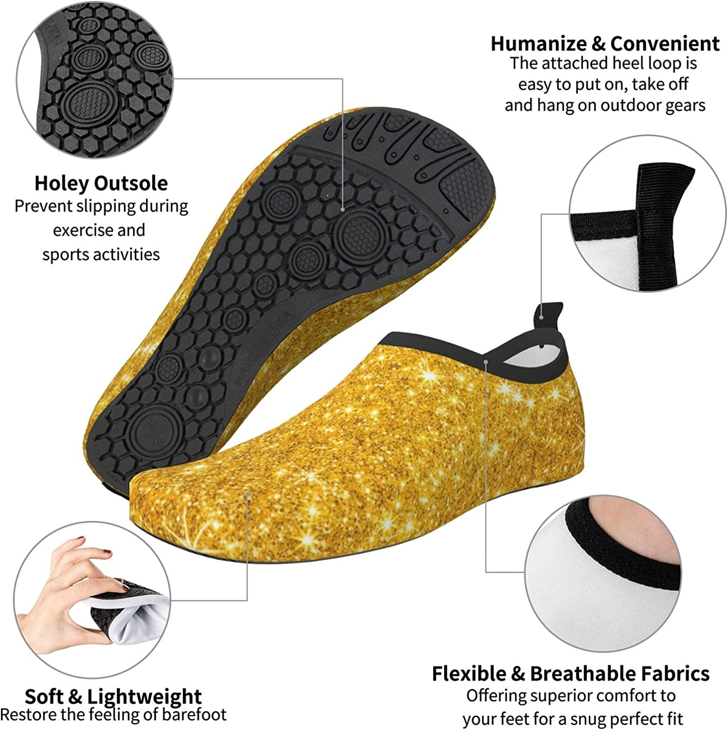 APBUTER Gdld Blink Glitter Mens Womens Water Shoes Quick Dry Outdoor Shoes for Beach Surfing Swimming