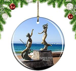 Weekino Mexico Puerto Vallarta Christmas Xmas Tree Ornament Decoration Hanging Pendant Decor City Travel Souvenir Collection Double Sided Porcelain 2.85 Inch
