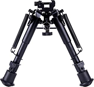 Ohuhu Tactical Rifle Bipod, Spring Return 6-9 Inches Adjustable Height with Picatinny..