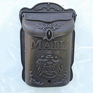 zenggp Art Nouveau Letter Box Country Style Wall Fixture Cast Iron Postbox Mailbox