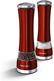 Morphy Richards Accents Electronic Salt and Pepper Mill Set, Red, Stainless Steel, Red
