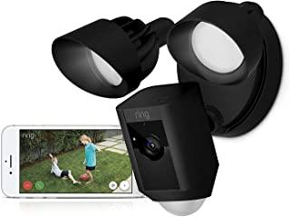 Ring Floodlight Cam-Wi-Fi Smart Home Security Camera Black-Wired - Led lights- Two way talk - Full HD live video- Outdoor-...