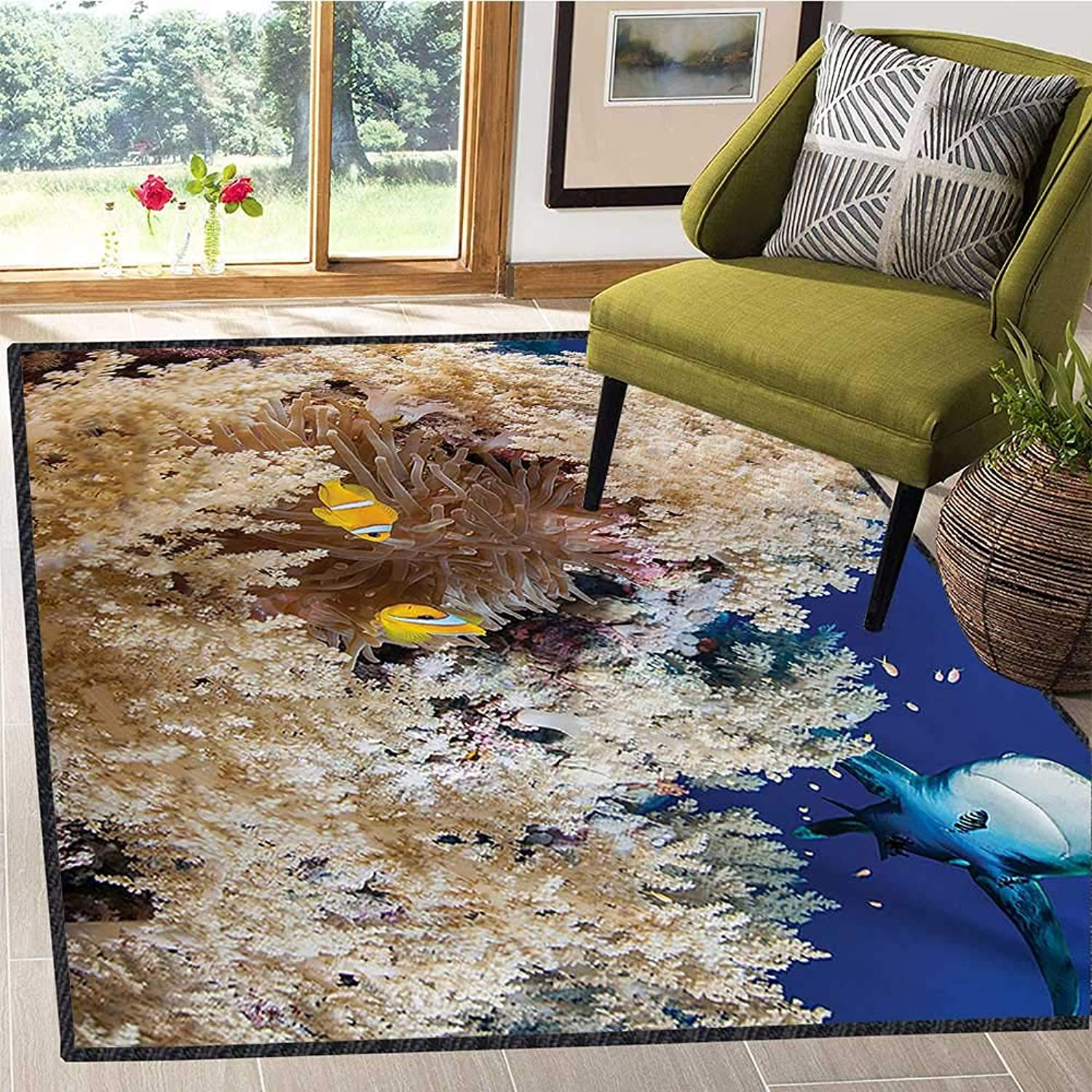 Shark, Floor Mat for Kids, Reef with Little Clown Fish and Sharks East Egyptian Red Sea Life Scenery Food Chain, Door Mats for Inside Non Slip Backing 5x8 Ft bluee Cream