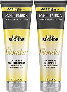 JOHN FRIEDA Sheer Blonde Go Blonder Lightening Shampoo and Conditioner 250ml each - Naturally lighten. Moisturise and clea...