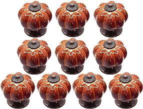 Maijia 10 Stks Vintage Keramische Pompoen Deurklink Trekt Zinklegering Kast Handvatten Keukenmeubelknop (Oranje)