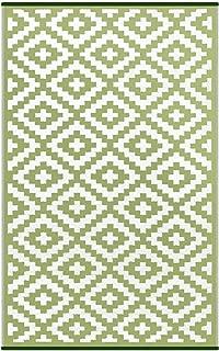 Lightweight Outdoor Reversible Plastic Nirvana Rug (5 X 8, Leaf Green/White)
