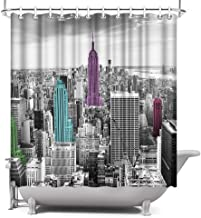 ArtBones New York NYC Shower Curtain Manhattan Skyline Colorful Empire State Building Fabric Cloth Waterproof 12 Hooks 72x72