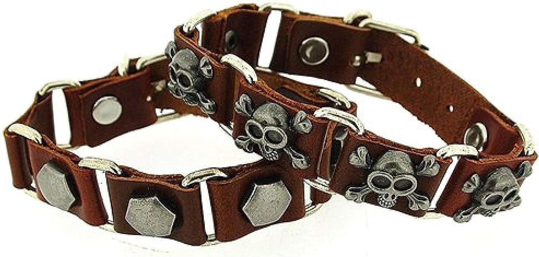 OOTB Gents Metal Studs Brown Leather Links Bracelet 2 Pack FJ1282