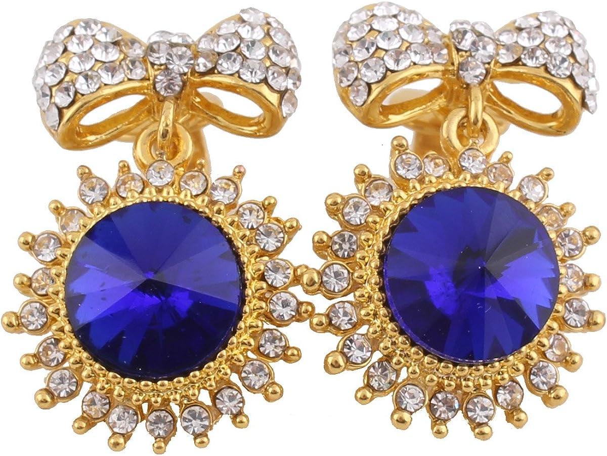 Grace JunFashion Bridal Rhinestone Crystal Bowknot Shape Clip on Earrings Non Piercing for Women