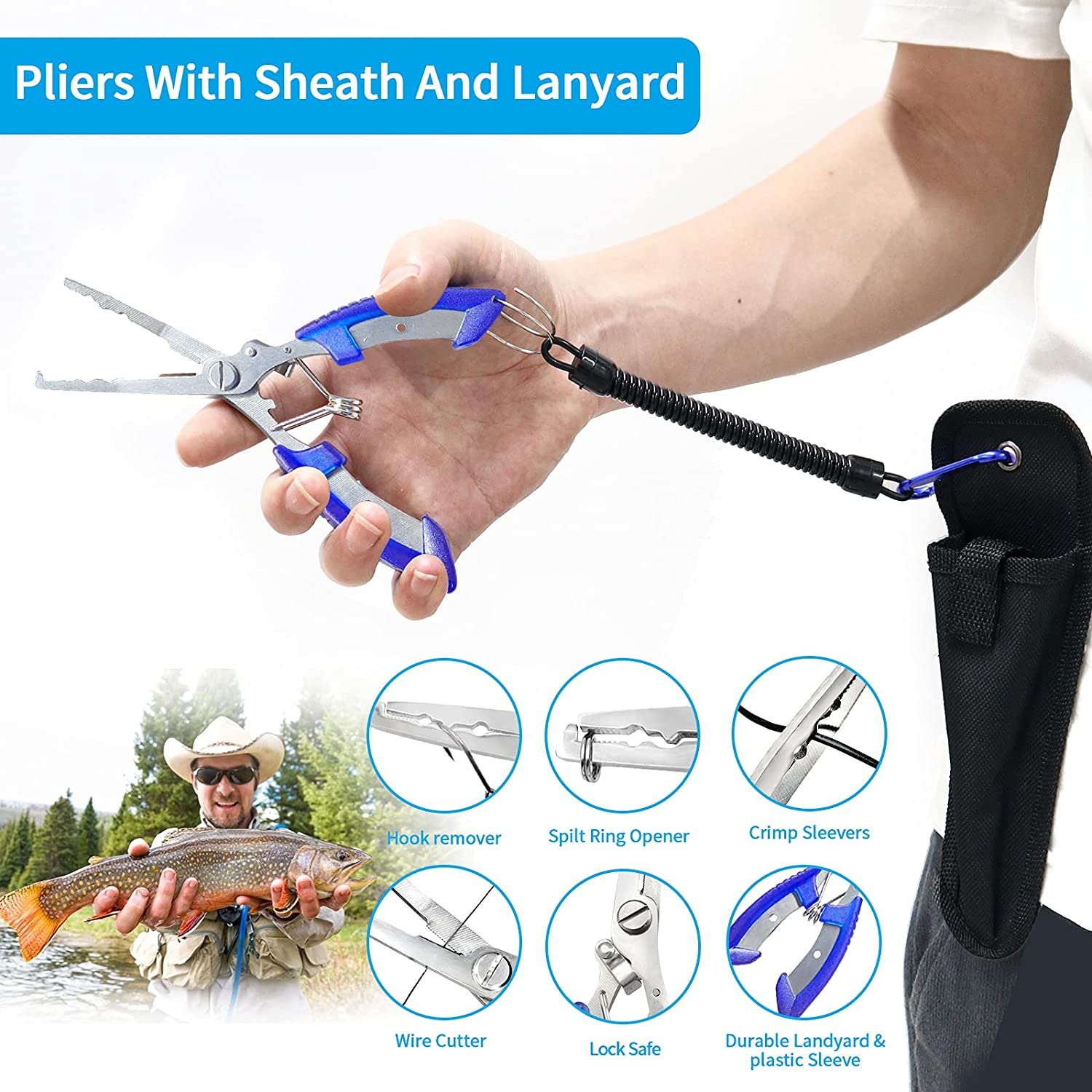 Fishing Tool Kit Includeds Fishing Pliers with Sheath, Fish Hook Remover Tool, Fish Lip Gripper,Digital Fish Scale,2 Fishing Lanyards and Fishing Lures,Fishing Gear Kit for Fishmen,fishing accessories : Sports & Outdoors