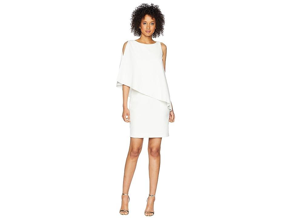LAUREN Ralph Lauren 130H Luxe Scuba Crepe Cooper One Shoulder Day Dress (Cream) Women