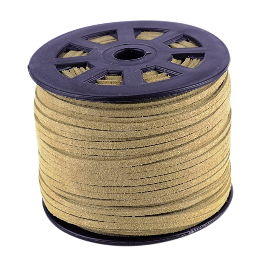 Nbeads 100 Yards Roll 3mm Wide Jewelry Making Beading Craft Thread Flat Micro Fiber Faux Suede Leather Cord String (Burlywood)
