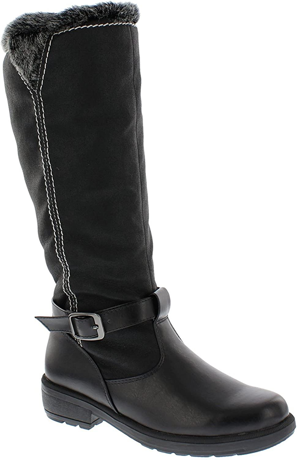 Boston Accents Womens Cold Weather Boots with Side Zipper Closure Patty Waterproof Insulated Tall Winter Boots - Comfortable, Keeps Feet Warm & Dry - Available Both in Medium and Wide Width