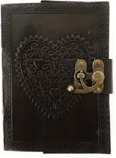 Anshika International Leather Journal Heart Engraved Handmade Writing Notebook 7 x 5 Inches Unlined Paper, Black Diary