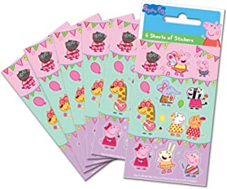Paper Projects 01.70.15.045 Peppa Pig Festival of Fun Party Lot de 6 feuilles d'autocollants Multicolore 12,5 x 7,5 cm