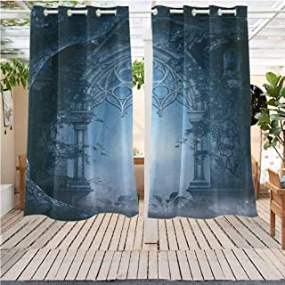 DONEECKL Fantasy Outdoor Curtain Passage Doorway Through Enchanted Foggy Magical Palace Garden at Night View Gazebo W63 x L45 inch Navy Blue and Gray