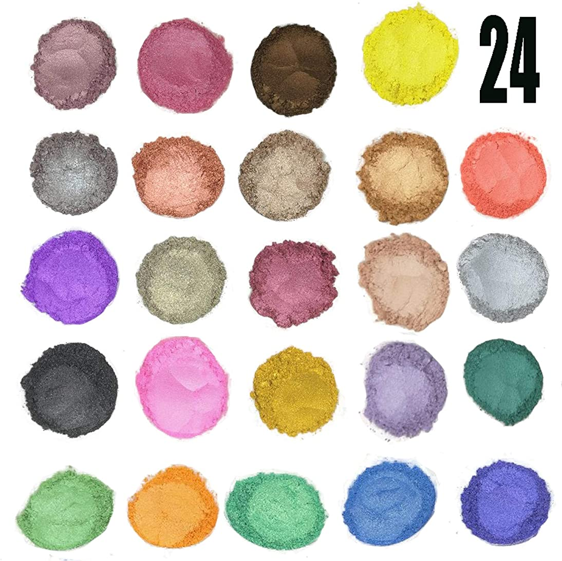 24 Color Pigments Shimmer Mica Powder - DIY Soap Making, Candle Making,Resin Dye, Mica Powder Organic for Soap Molds (5 Grams Each, 120 Grams Total)
