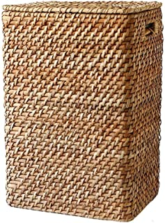 WMY Panier de Rangement rectangulaire, boîte de Rangement avec poignée de Couvercle, Panier à Linge en rotin tissé à la Ma...