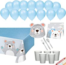 Bear Teddy Bear Nordic Scandinavian Party Plates Napkins Cups Tablecloth Decorations for Baby Shower or Birthday | Silver and Blue First 1st Birthday | Bear Complete Party Supplies Bundle | Serve 16