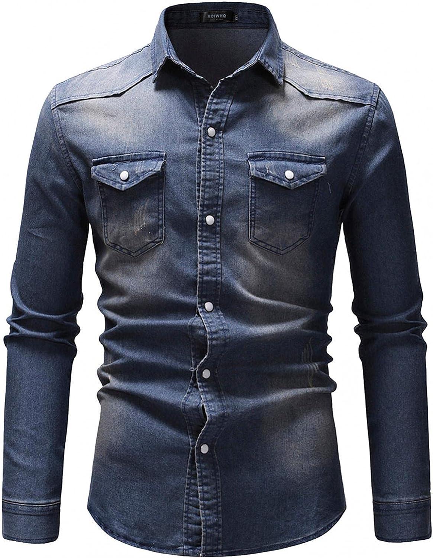 LEIYAN Mens Casual Button Down Jean Jackets Fashion Long Sleeve Lightweight Lapel Slim Fit Cargo Denim Jackets
