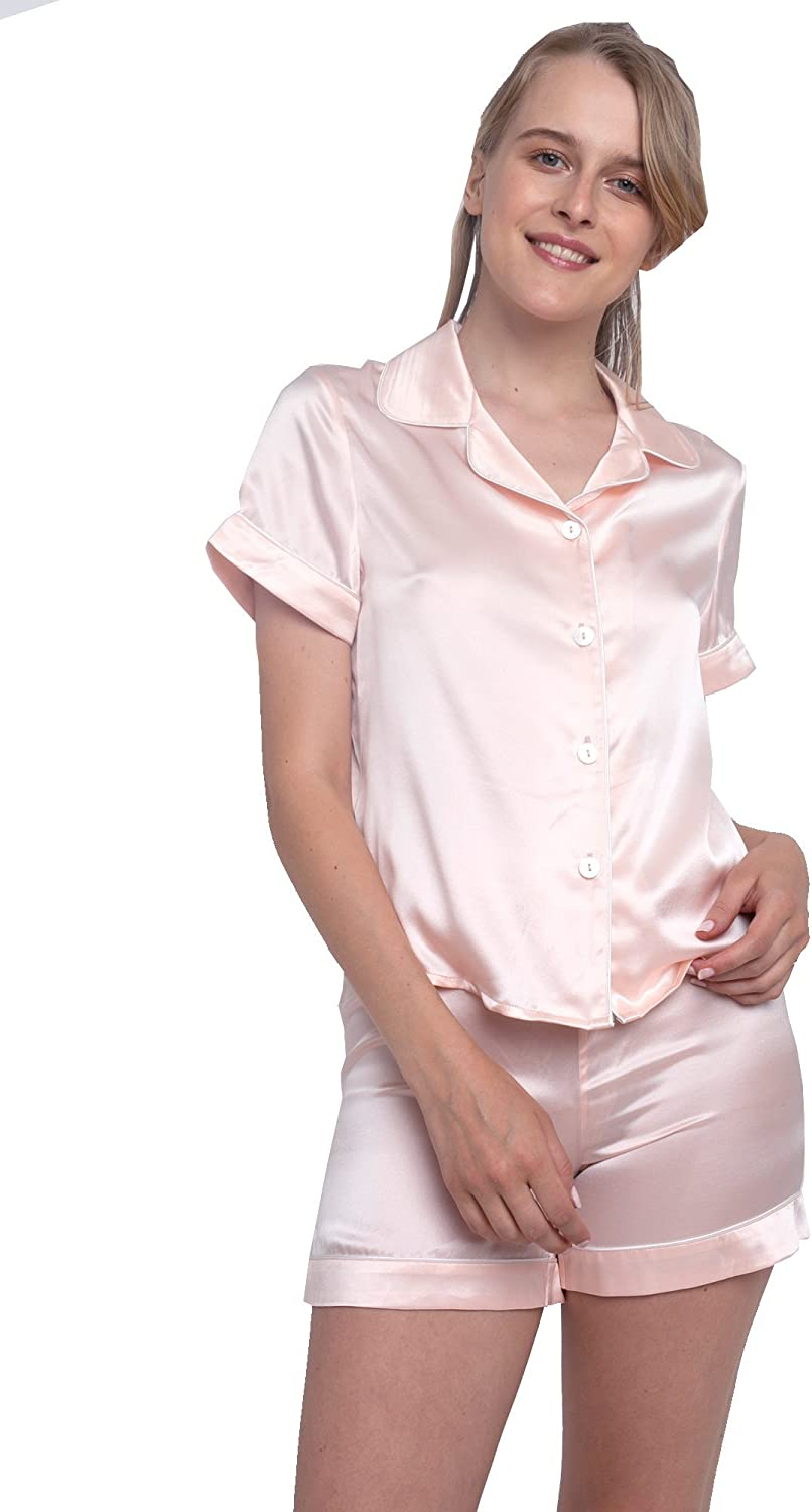 MYK Pure Mulberry Silk TwoPiece Pajama Set Night Shirt and Shorts for Women