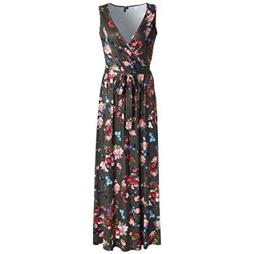 b168a50893af Zattcas Womens Casual V Neck Sleeveless Empire Waist Vintage Floral Maxi  Dress