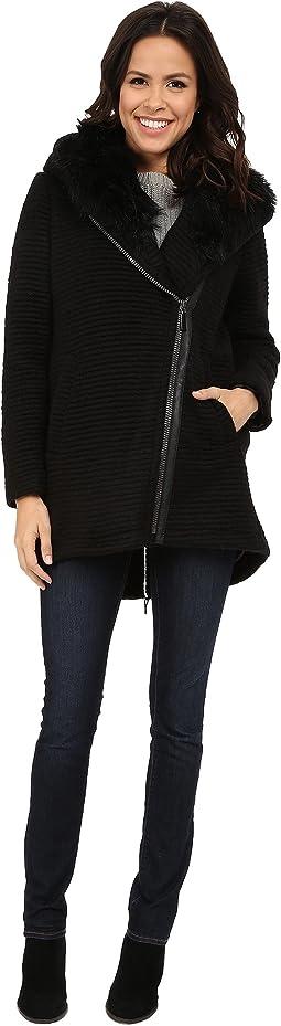 Fur Hood Sweater Coat J8241