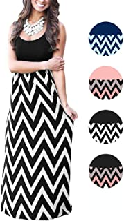 LETSRUNWILD Women's Boho Chevron Striped Print Summer Beach Sleeveless Tank Long Maxi Party Dress