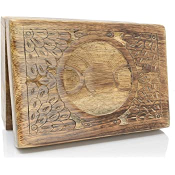 Piquaboo Caja de Tarot de Madera sólida para Guardar Cosas con Luna Triple, 18x12 cm: Amazon.es: Hogar