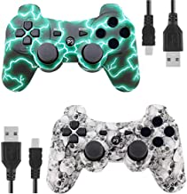 PS3 Controller Wireless for Playstation 3 Dual Shock (GreenFlash and WhiteSkull)