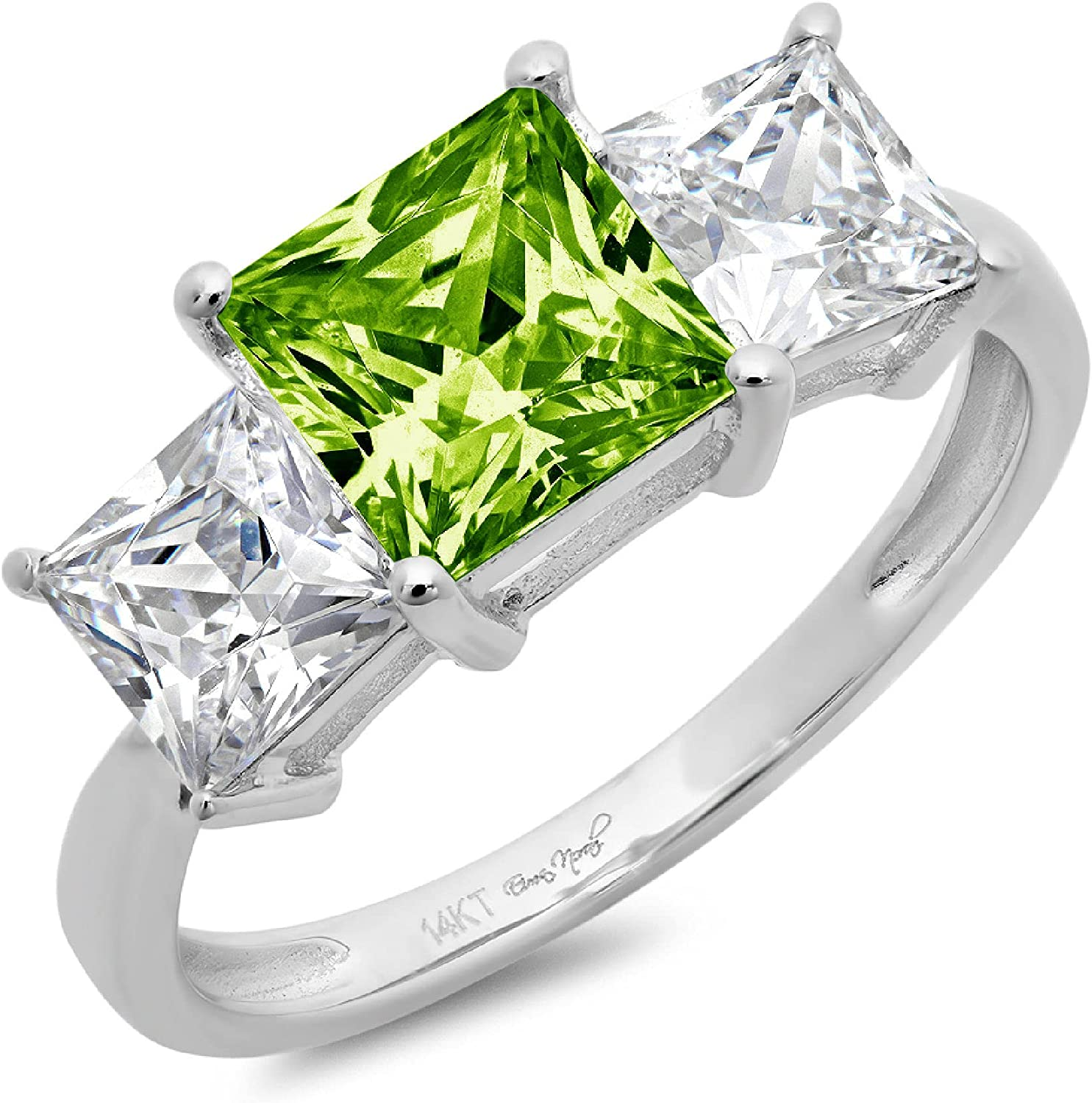 3.0ct Brilliant Princess Cut 3 Stone Solitaire Accent Genuine Flawless Natural Green Peridot Gemstone Engagement Promise Statement Anniversary Bridal Wedding Ring Solid 18K White Gold