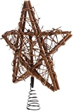 TOYANDONA Christmas Rattan Star Tree Topper with Spring Support Rattan Tree Top for Xmas Tree Decorations Holiday Seasonal...