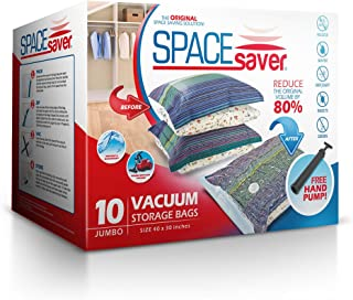 Spacesaver Premium Vacuum Storage Bags | Works with Any Vacuum Cleaner | No Mold, Mildew, or Bacteria! - Lifetime Replacement Guarantee & Free Hand-Pump for Travel (Jumbo 10 Pack (40 x 30 Inches))
