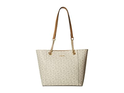 Calvin Klein Monogram East/West Tote (Almond/Khaki) Tote Handbags