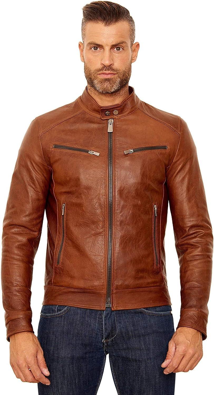 Tan pull up lamb leather biker jacket four zipper pockets