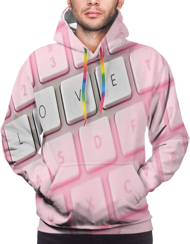 Men's Hoodies Sweatshirts,Computer Keyboard Spelling Love Instead of QWERTY Girlfriend