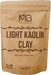 MB Herbals Light Kaolin Clay 250 Grams (8.81 oz) | Gentle Clay for Skin & Hair | Cleans Skin Pore | Exfoliates & Detoxifies Skin | Removes Excess Sebum from Skin