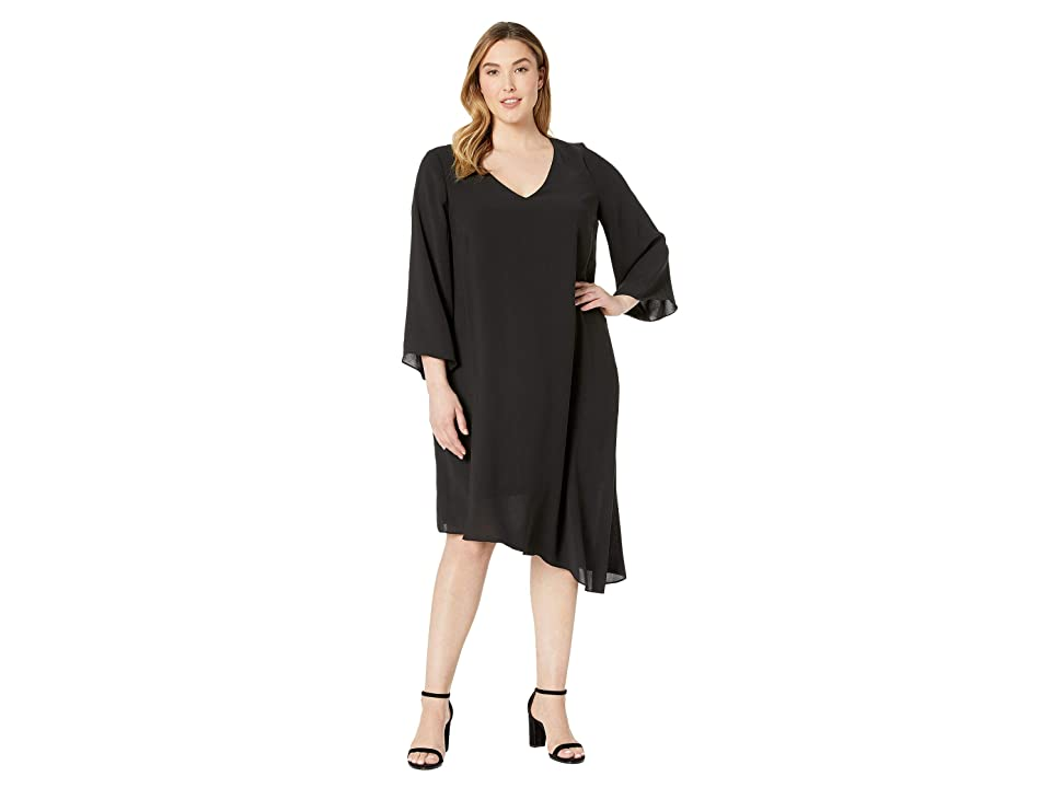 Adrianna Papell Plus Size Gauzy Crepe Flared Sleeve Dress (Black) Women