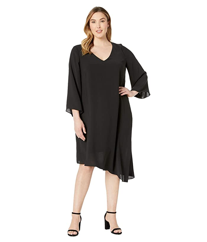 1920s Plus Size Flapper Dresses, Gatsby Dresses, Flapper Costumes Adrianna Papell Plus Size Gauzy Crepe Flared Sleeve Dress Black Womens Dress $110.99 AT vintagedancer.com