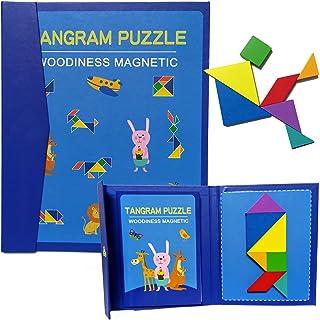 Tangram magnético tipo estuche con 7 piezas con diseños geométricos de madera sólida y resistente. Rompecabezas interactiv...