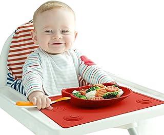 Bebé y Niños Mantel Plato de Silicona - Bandeja Mantelito con Plato Cuenco (Forma de Gato) con Fuerte Ventosa - 100% Libre BPA - Antideslizante, Portátil, Fácil de Limpiar y Apto para Lavavajillas.
