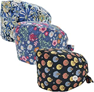 Bouffant Hats for Women 3 Pieces Adjustable Turban Cap Head Scarf Beanie Working Cap with Sweatband and Buttons for Nursing