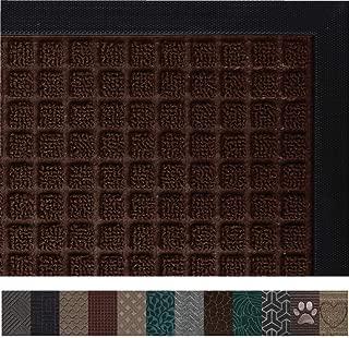 Gorilla Grip Original Durable Rubber Door Mat, 29 x 17, Heavy Duty Doormat, Indoor Outdoor, Waterproof, Easy Clean, Low-Profile Mats for Entry, Garage, Patio, High Traffic Areas, Chocolate Squares
