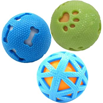 PSK PET MART Combo of 3 Squeaky Interactive Ball Toy for Dog/Puppy-Small-Multicolored