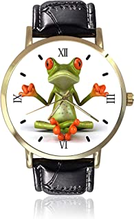 Frog Design Wrist Watch Unisex Fashion Black Leather Strap Stainless Steel Round Gold Dial Plate Wristwatch