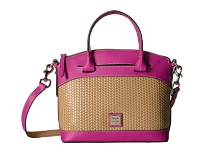 Dooney & Bourke Beacon Woven Domed Satchel (Sand/Magenta Trim) Satchel Handbags