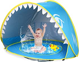 iGeeKid Baby Beach Tent Pool, Shark Pop Up Portable Sun Shelter Tent with Pool UPF 50+ UV Protection & Waterproof Sun Tent...