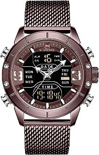 Anself NAVIFORCE 9153 Man Quartz Watch Dual Time Calendar Week Date Display Noctilucent Waterproof Stainless Steel Band Ma...